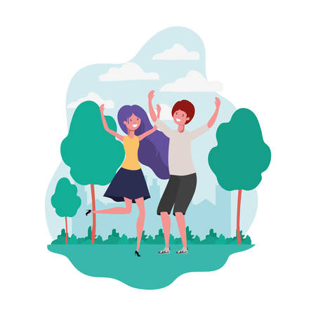 couple dancing in landscape with trees and plants vector illustration design