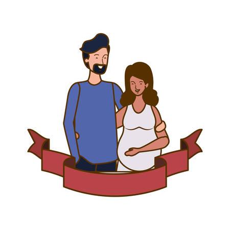 pregnant woman with husband with decorative ribbon vector illustration design Archivio Fotografico - 129529022