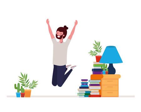 young man dancing in living room character vector illustration design Stock Illustratie