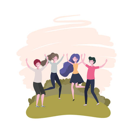 group of people dancing in landscape with trees and plants vector illustration design Stock Illustratie