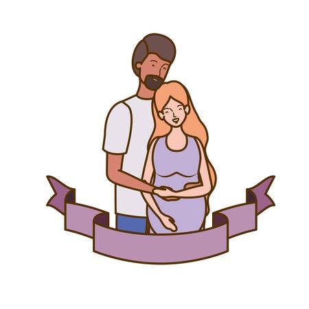 pregnant woman with husband with decorative ribbon vector illustration design Archivio Fotografico - 129529186