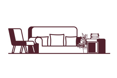 comfortable sofa in living room with white background vector illustration design
