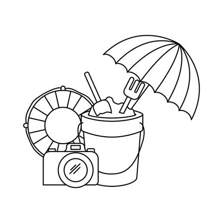 silhouette of sand bucket with tools to play vector illustration design Ilustrace