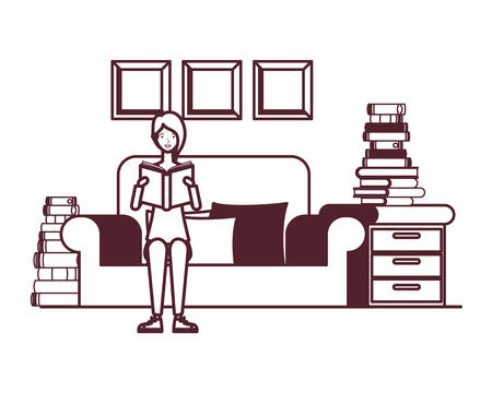 silhouette of woman with book in hands in living room vector illustration design