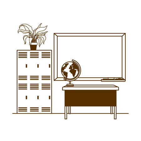 silhouette of chalkboard of school in classroom vector illustration design Illusztráció
