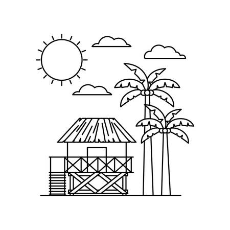 silhouette of house on the beach with white background vector illustration design Иллюстрация