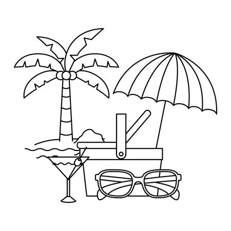 silhouette of straw picnic basket on white background vector illustration design