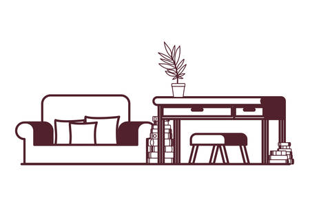 living room with desk and books vector illustration design