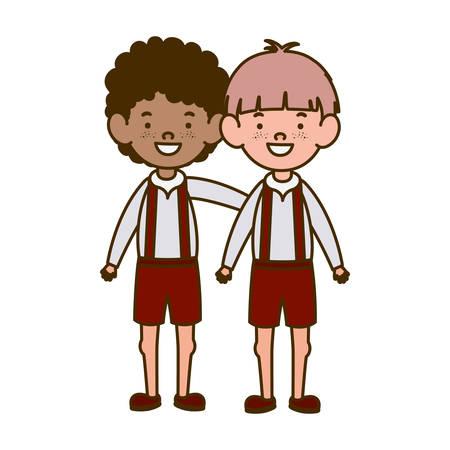 student boys standing smiling on white background vector illustration design
