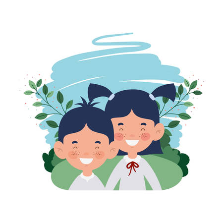 couple students smiling with landscape background background vector illustration design Stock Illustratie