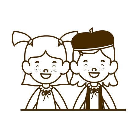 silhouette of student girls smiling on white background vector illustration design