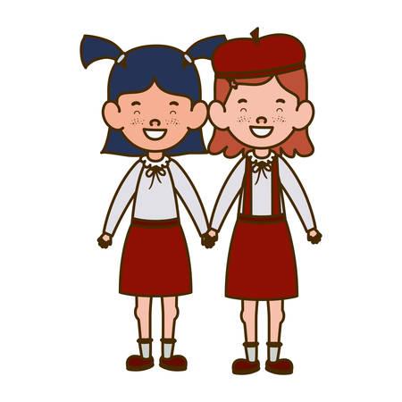 student girls standing smiling on white background vector illustration design Stock Illustratie