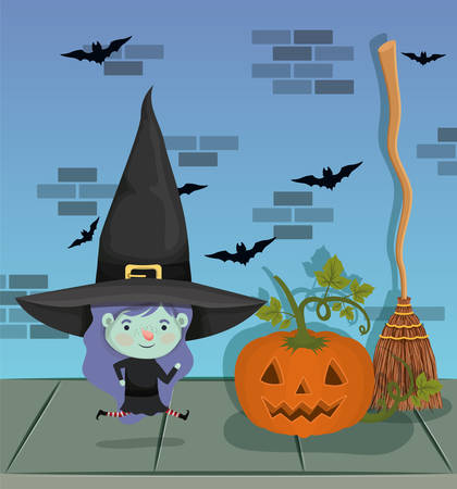 little girl with witch costume in the wall and pumpkin vector illustration design Stock Illustratie