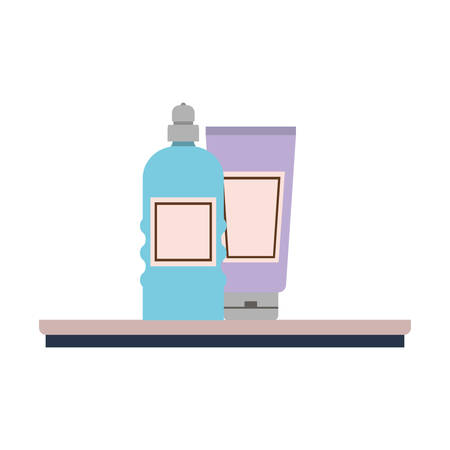 dispensing bottle on shelf with white background vector illustration design  イラスト・ベクター素材