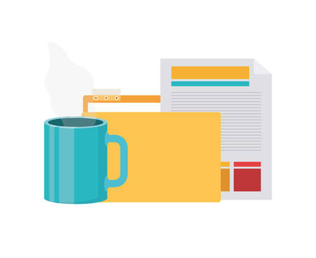 folder with office objects on white background vector illustration design 向量圖像