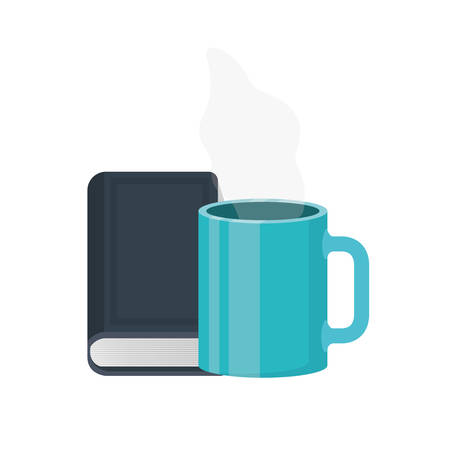 cup of coffee with book isolated icon vector illustration design