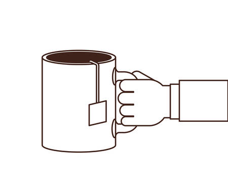 hand with cup of coffee with white background vector illustration design 일러스트