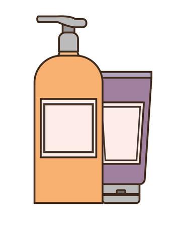 dispensing bottles on white background vector illustration design