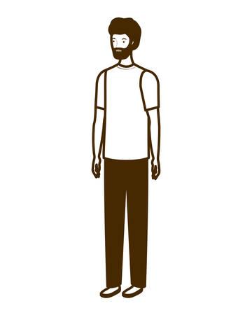 silhouette of man standing on white background vector illustration design