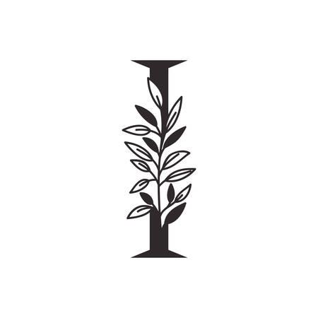 Lettre I de l'alphabet avec des feuilles de conception d'illustration vectorielle