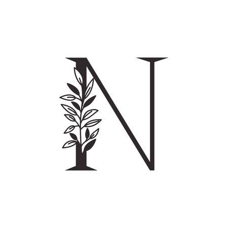 Lettre N de l'alphabet avec des feuilles de conception d'illustration vectorielle