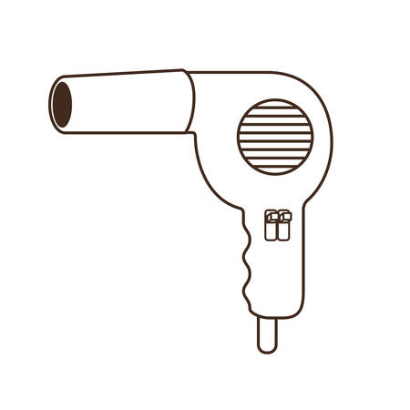 silhouette of professional hair dryer on white background vector illustration design