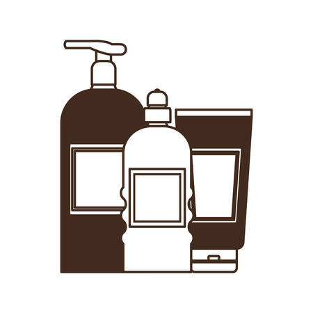 silhouette of pet grooming containers on white background vector illustration design