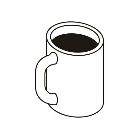 silhouette of cup of coffee with white background vector illustration design