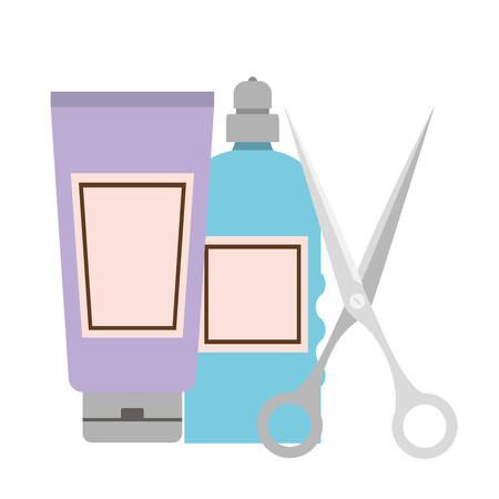 professional hairdressing tools on white background vector illustration design