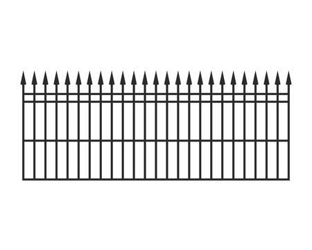 Barandillas de hierro sobre fondo blanco, diseño de ilustraciones vectoriales