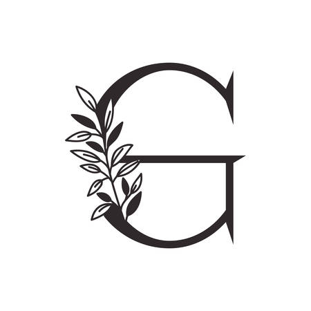 letter G of the alphabet with leaves vector illustration design