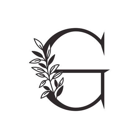 Lettre G de l'alphabet avec des feuilles de conception d'illustration vectorielle