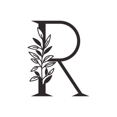 Lettre R de l'alphabet avec des feuilles de conception d'illustration vectorielle