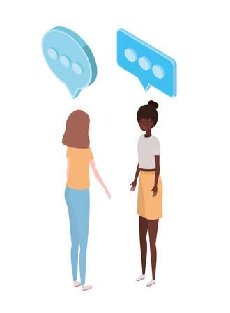 women standing with speech bubble on white background vector illustration design Çizim