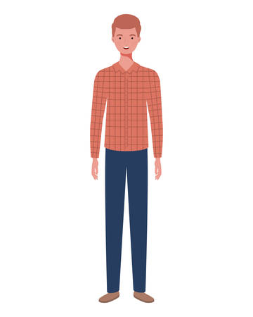 young man standing on white background vector illustration design