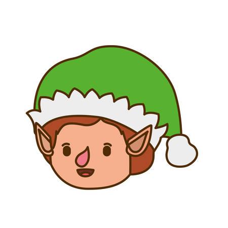 elves head with hat avatar character vector illustration design Stock Illustratie