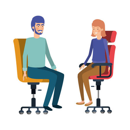 couple with sitting in office chair avatar character vector illustration design