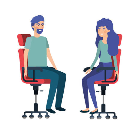 couple with sitting in office chair avatar character vector illustration design Vectores