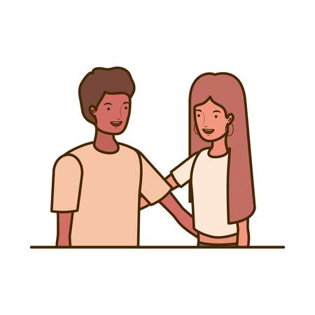 couple of people smiling and hugging each other vector illustration design Stock Illustratie