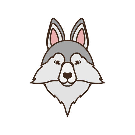 head of cute siberian husky dog on white background vector illustration design Stock Vector - 129693808