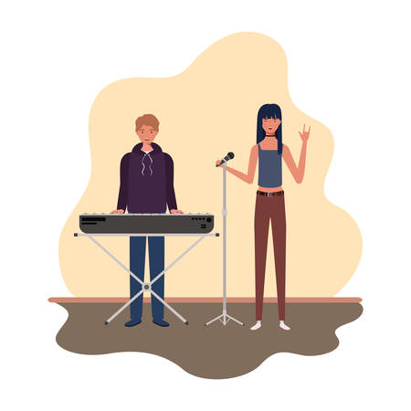 couple of people with musicals instruments in living room vector illustration design Illustration