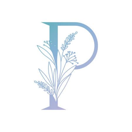 lettre de l'alphabet avec des feuilles de conception d'illustration vectorielle