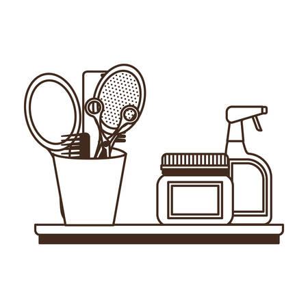 silhouette of pet grooming set on white background vector illustration design