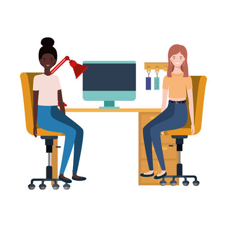 women sitting in the work office with white background vector illustration design