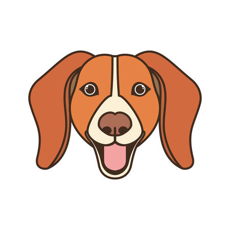 head of cute beagle dog on white background vector illustration design