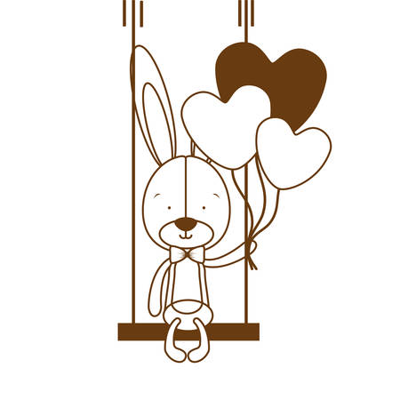 silhouette of cute bunny with helium balloons vector illustration design Stock Illustratie