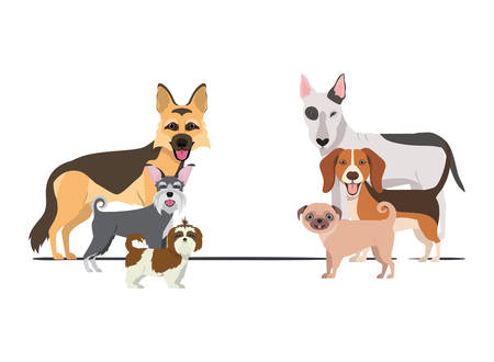 set of adorable dogs on white background vector illustration design Фото со стока - 129749259