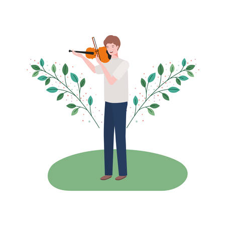 man with fiddle and branches and leaves in the background vector illustration design Иллюстрация