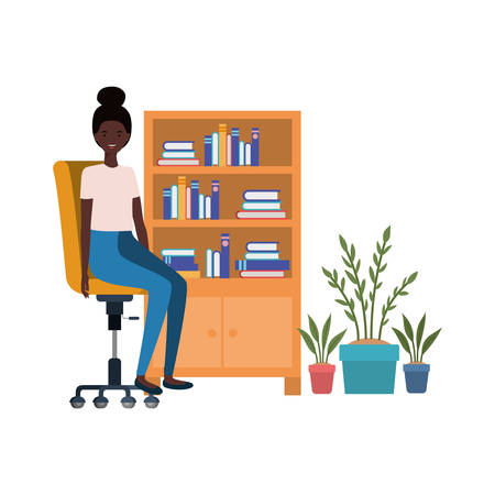 woman sitting in the work office with white background vector illustration design Иллюстрация