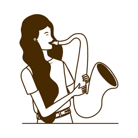 silhouette of woman with saxophone on white background vector illustration design